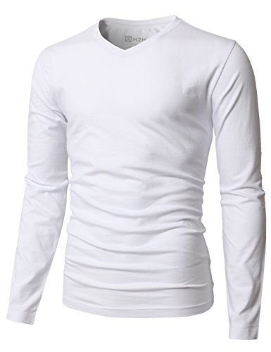 H2H Mens Casual Slim Fit Long Sleeve V-Neck T-Shirts White US M/Asia L (KMTTL0374)