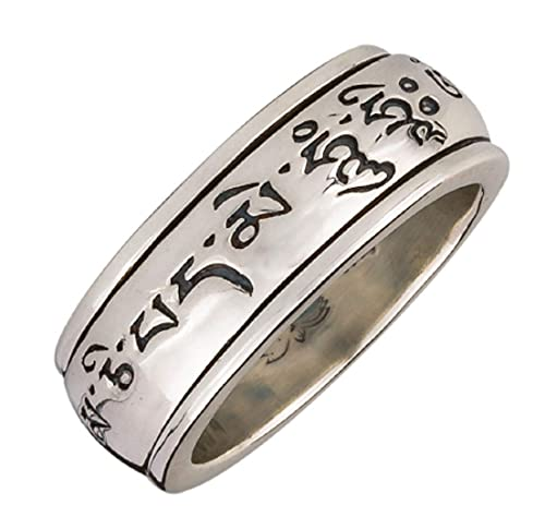 Energy Stone Mantra - Anillo de meditación con el mantra Om Mani Padme Hum - Inspirado en una rueda de plegaria - Plata de ley - (Modelo UK24)