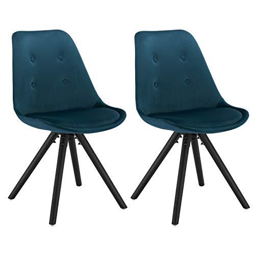 WOLTU® BH196bl-2 2 x Esszimmerstühle 2er Set Esszimmerstuhl, Sitzfläche aus Samt, Design Stuhl, Küchenstuhl, Holzgestell, Blau