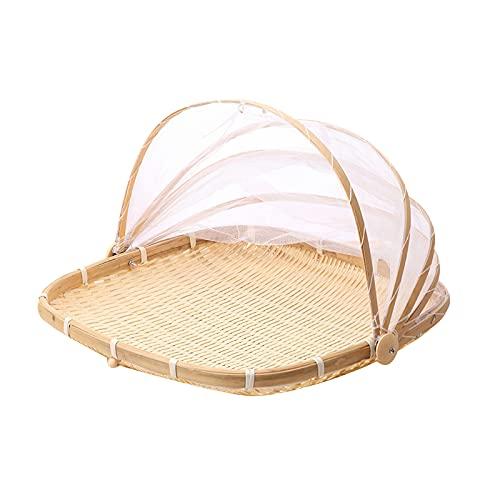 OurLeeme Korb gegen Insekten, Zeltkorb aus Bambus, mit Gaze, Staubschutz, Korb aus Bambus, stabiler Brotkorb, Picknickkorb
