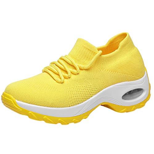 Fitzac Modische Schuhe für Damen, Turnschuhe, Damen, fliegende Stricksocken, Schuhe, Schaukelschuhe, lässig, Laufen, weich und bequem, lässig, Schnürung, Laufschuhe für Damen, gelb, 42