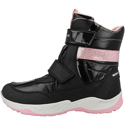 Geox Niñas Botas SENTIERO Girl WP,ChicaBotas Invierno,Zapatos para Aire Libre,cálido,Forrado,Removable Insole,Black/Pink,25 EU / 7.5 UK Child