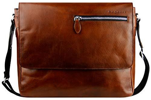 """Bugatti Domus Leder Messenger Bag Umhängetasche für Damen und Herren mit 13"""" Laptopfach, Kuriertasche Schultertasche Herrentasche, Cognac"""