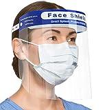 2 protectores faciales de seguridad para la cara, protección completa, visera ancha, resistente a salpicaduras, lentes antivaho ligeros, ajustables y transparentes, para hombres y mujeres.
