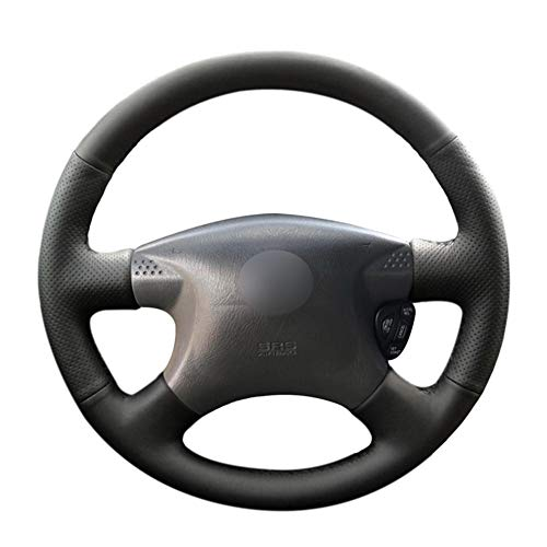 XLZWRJ Cubierta de Volante de Coche de Cuero Negro Cosida a Mano, para camioneta Nissan Bluebird Sylphy Caravan Expert Serena Sunny