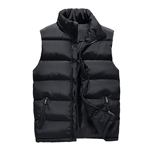 Mens Light-Weight Packable Puffer Down Vests Water-Resistant Polyester Outdoor Sports Thick Warm Sleeveless Jacket