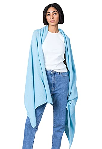 badiali Cashmere - Chal de cachemira para mujer, mezcla de cachemira azul celeste Talla única