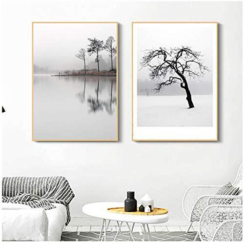 ZYHFBHFBH Canvas Schilderij Muur Art Lake Foto's voor Woonkamer Decor Zwarte Witte Boom Grote Posters en Prints