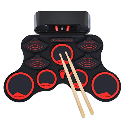 Elejolie Electric Drum Set for Kids Roll Up Drum Practice Kit Portable Rechargeable Drum Kit with Headphone Jack Built-in Dual Speaker Drum Pedals Drum Sticks Children Beginners Gift