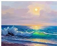 数字で描く海景数字で描くDIY家の装飾キャンバスにデジタル絵画 40X50CM(フレーム付き)