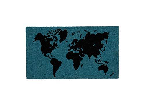 Fisura Felpudo Mundo Rectangular 60x40 cm Puerta de Entrada Divertido y Original, Fibra de Coco Natural, PVC Antideslizante