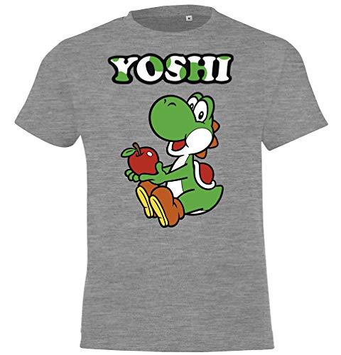 TRVPPY - Maglietta da bambino modello Yoshi taglia 2-12 anni, in diversi colori grigio. 6 anni