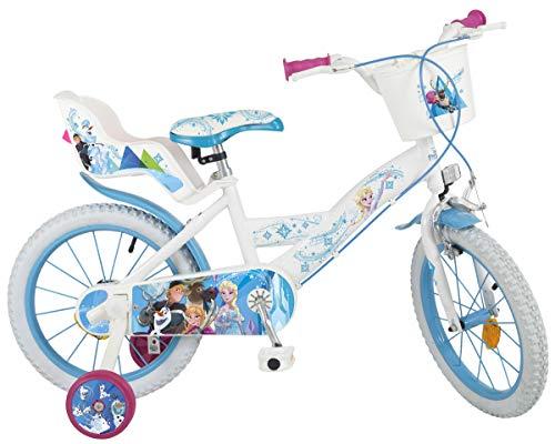 Disney Kinderfahrrad Frozen 16 Zoll Eiskönigin Mädchen-Fahrrad mit Puppensitz, Korb, abnehmbaren Stützrädern