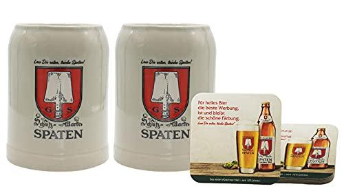 Spaten Premium Bierkrug [2er Set] 0,5 Liter mit 2 Originalen Bierdeckel - Original Spaten Bier Steinkrug für Gastronomie & Sammler - 50cl Bier Krug - Spülmaschinenfest - NEU