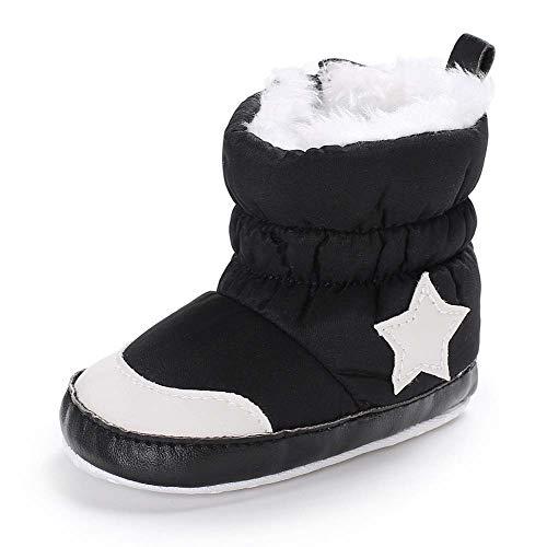Babycute - Botas de nieve para recién nacidos, suela suave y antideslizante, cálidas para el invierno, color Negro, talla 12-18 meses