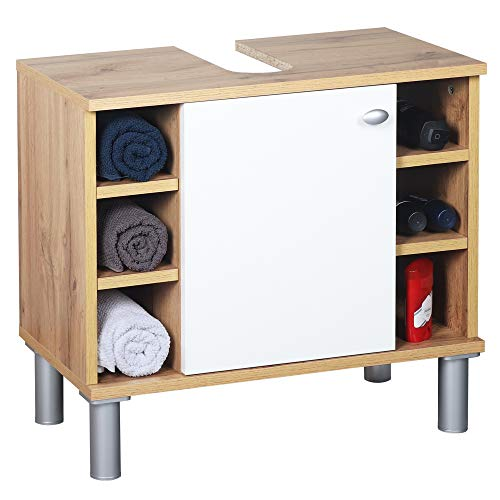 RICOO WM100-EW-W Waschbecken Unterschrank Badezimmer Waschtisch Klein Holz Eiche Braun Türe Weiß Badschrank für Bad Gäste WC ohne Becken