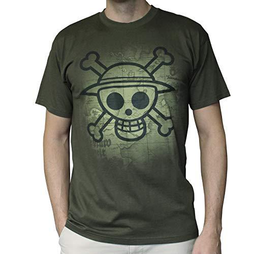 ABYstyle - One Piece - Camiseta - Craneo con Mapa - Hombre - Khaki (S)