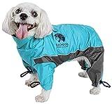 TOUCHDOG 'Quantum-Ice' Full Body Bodied Adjustable and 3M Reflective Pet Dog Coat Jacket w/ Blackshark Technology, Medium, Ocean Blue, Grey