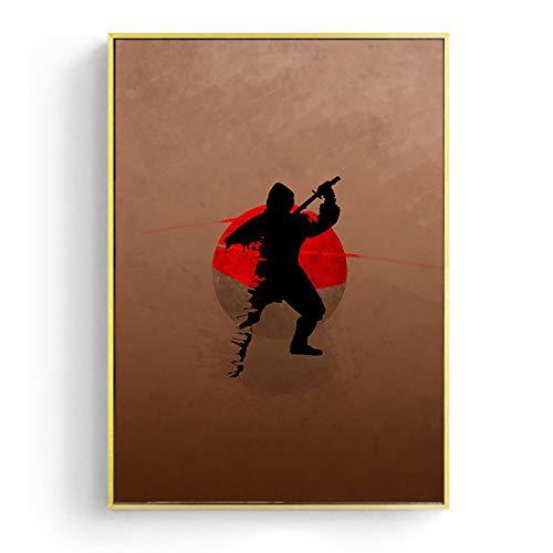 zzzddd Impression sur Toile,Geisha Samouraï Ninja Toile Toile Murale Moderne Photos d'art pour Une Salle De Séjour Décoration Maison Affiches Et Estampes,70 * 100 Cm X