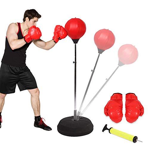Boksen Punch Exercise Bag Ball met Verstelbare gratis stand, Reflex Speed Training bevind me met de Bounce-Back Base Handschoenen Beschermende kleding for tieners of volwassenen om gewicht te verlie