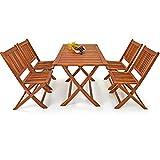 Deuba Conjunto de muebles de Madera de Acacia de jardín 'Sydney Light' set de 4 sillas + 1 mesa para Patio plegable