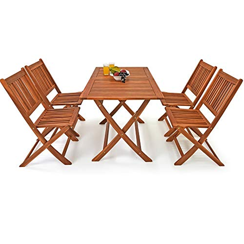 """Deuba Conjunto de muebles de Madera de Acacia de jardín \""""Sydney Light\"""" set de 4 sillas + 1 mesa para Patio plegable"""
