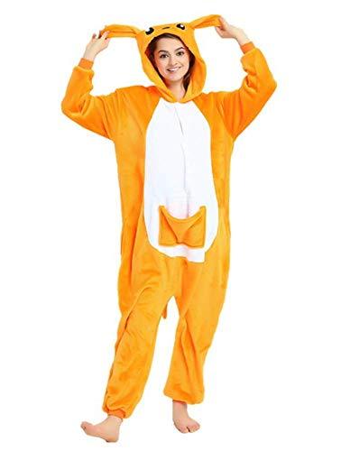 Unisexo Comodidad Suave Franela Disfrace Animales Kigurumi Traje de Dormir Cosplay Ropa de Salón Pijamas Adulto Animal para Niños Niñas Anime Fiesta - S - Canguro Senza Peluche