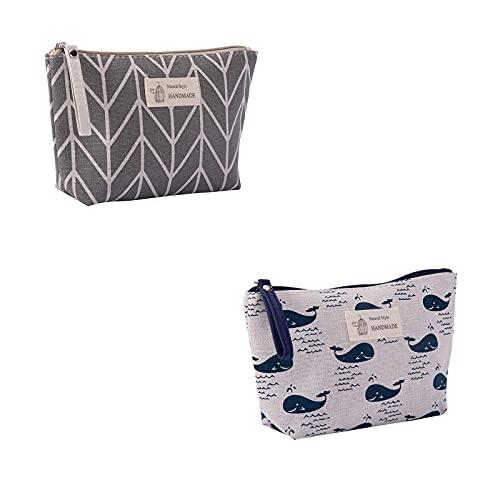 Parshall Bolsa pequeña de almacenamiento de lona para tarjetas de teléfono móvil, bolsa de artículos de tocador con cremallera monedero organizador cosmético, 2 unidades