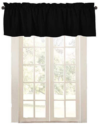 "Native Fab Set of 2 Valance Curtains for Windows 54""x18"" for Living Room Bedroom Kitchen Windows Bathroom, Farmhouse Vintage Curtain Valances Rod Pocket - Black"