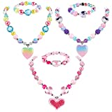 G.C 3 Sets Heart Necklace and Bracelet with Glittering Heart Pendant Kids Gift Toy Party Favors Play Dress up Chunky Costume Jewelry Friendship Jewelry for Toddler Little Girls(with Gift Box)