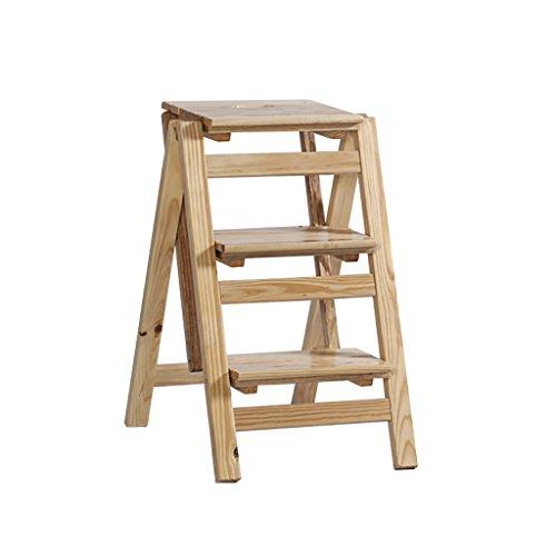 PanYFDD Silla de escalera de madera maciza escalera pequeña de múltiples funciones para el hogar escalera de tres escalones ascendente de interior escalera engrosada de espina de pescado Hogar, sala d