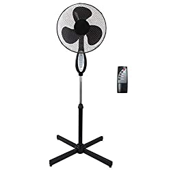 16'' Stand Fan with Remote control. Mesh grill: 420mm 3 PP blades, 3 speeds, Power cord: 2 x 0.5mm2 x 1.5m, Cross base: 620mm 1.25m height, PP switch panel, 7.5 hours timer 3 wind modes, Nature, Normal, Sleep, Auto Swing, Color: Black, Uk 3 Pin Plug ...