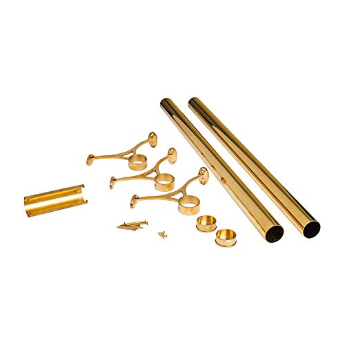 Outwater 8' Bar Foot Rail Kit – Complete Undercounter Mount Hardware and Tubing, Brass Finish