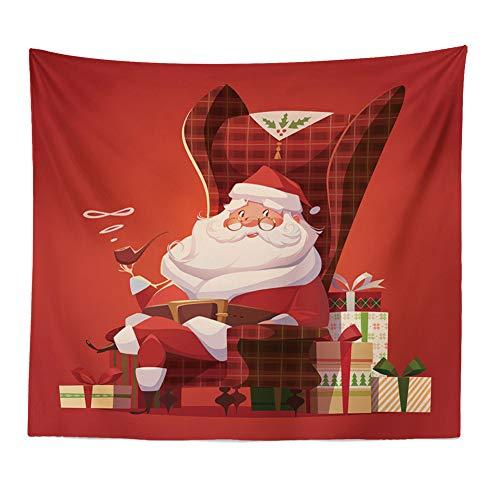 N/ A Santa Schlitten Wandteppich Stoff Wandbehang Schlafzimmer Wohnzimmer Wohnkultur Dekorationen Wandteppich Wandteppich