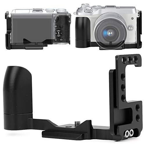 Bindpo L-förmige Schnellwechselplatte, QR L-Halterung Handgriff mit 1/4 Schrauben Loch und Schuhhalterung für Canon EOS M6(Schwarz)