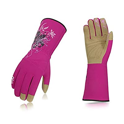 Vgo 1-Pair Ladies' Synthetic Leather Gardening Gloves, Long Sleeves Gauntlet, Breathable & Grip Work Gloves, High Dexterity, Washable (Size M, Rose, SL7445)