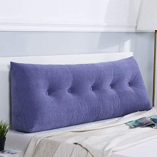Reading Pillows Wedge Pillow Triangular Headboard Cushion,Velvet Reading Back Cushion Back Position Support Sofa Removable Bed Reading Pillow Lumbar Pillows ( Color : Purple , Size : 200*50*20cm )