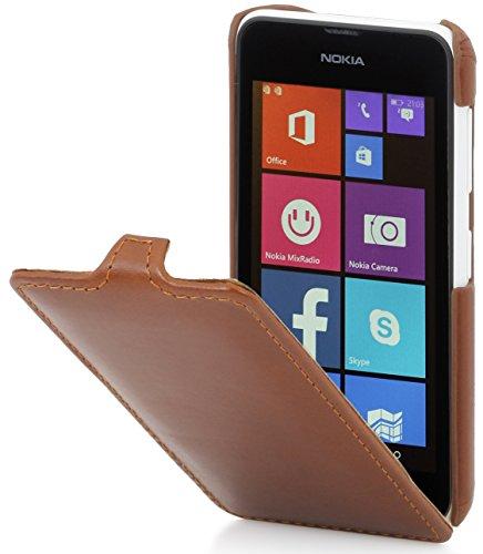 StilGut UltraSlim Hülle, Tasche aus Leder für Nokia Lumia 530, Cognac