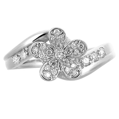 [ココカル]cococaru ダイヤモンド リング K10 ホワイトゴールド 指輪 19号 花 フラワー 天然 ダイヤ 日本製