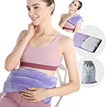 """SuzziPad Microwave Heating Pad, 14""""*8"""" Multipurpose Heating Pad for Neck, Shoulder, Back, Knee, Period Cramps, Joint Pain and Muscle Ache,Moist Heat Pack for Pain Relief, Heat Compress Wrap (Purple)"""