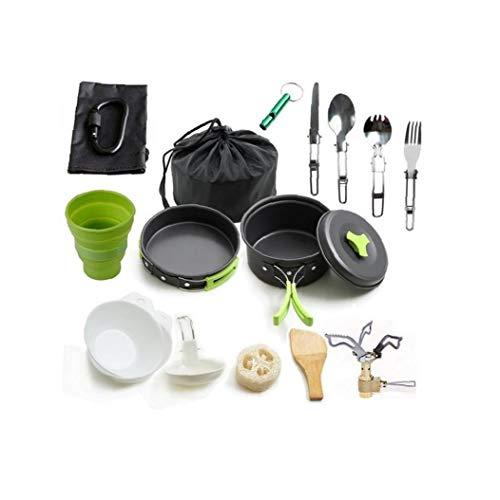 Camping Kochgeschirr Edelstahl-Geschirr-Mess-kit Beinhaltet Teller Schüssel Cup Great Für Reise Backpacking Picknick Camping Green 1set