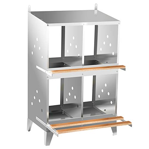 VEVOR Chicken Nesting Boxes 4 Hole, Poultry Nest Box Galvanized Steel, Hen Nesting Boxes for Laying Eggs with Inclined Roof, Metal Laying Coops with Polished Wooden Plank for Chicken Duck and Poultry