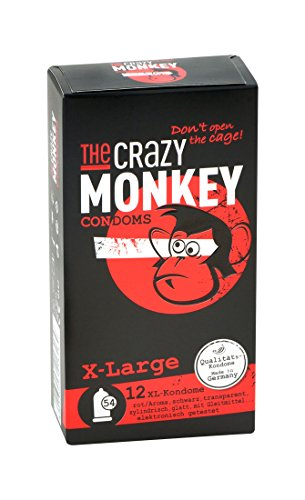 The Crazy Monkey Condome - X-Large - condoom met aardbeiaroma, zwart en transparant zonder aroma in XL maat - 12 condooms - Made in Germany