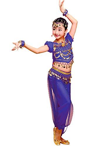 Grouptap Bollywood Indio niña de los niños bharatanatyam Danza del Vientre 2 Piezas Traje Traje de los niños Traje Conjunto (Azul, Altura 130-150cm)