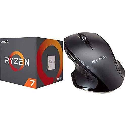 AMD Ryzen 7 3800X, Procesador con Disipador de Calor Wraith Prism (32 MB, 8 Núcleos, Velocidad de 4.5 GHz, 105 W) + Amazon Basics – Ratón inalámbrico ergonómico de tamaño Normal con Rueda rápida