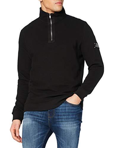 TOM TAILOR Herren Ottoman Sweatshirt, 29999-Black, S