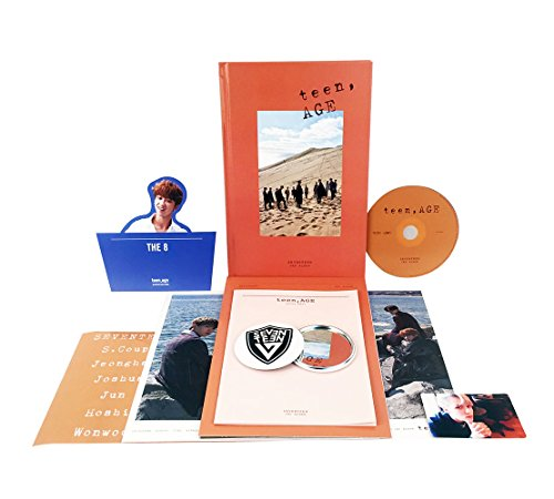SEVENTEEN 2nd Album - TEEN, AGE [ORANGE Ver.] CD + Photo Book + Photo Card + Folding Poster(ON PACK) + Lyrics Paper + Name Sticker + Portrait Desktop Stand + FREE GIFT / K-POP Sealed