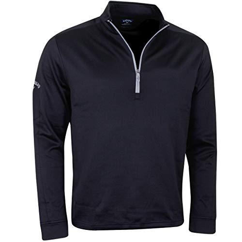 Callaway 2017 Waffle Fleece II 1/4 Zip Mid Layer Cover-up Mens Golf Sweater Pullover Caviar Medium