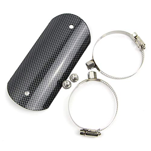 Dreamseek Exhaust Heat Shield for Universal Motorcycle Stainless Steel Middle Pipe Heat-shield Link Muffler Protector Cover Carbon Fiber Style with 2 Clamps