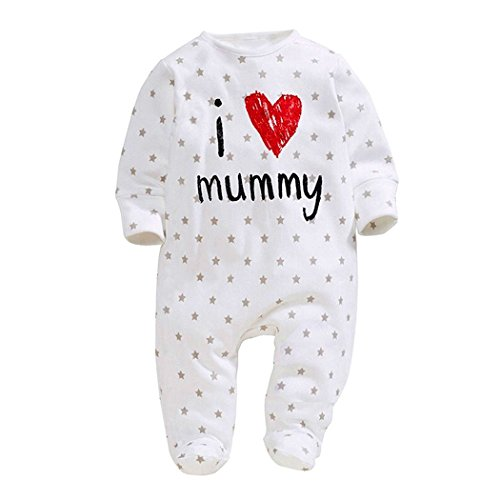 Infant and Toddler Baby Long Sleeve Letters I love Mommy Daddy Printed Onesies Jumpsuit (0-6Months, Mom)